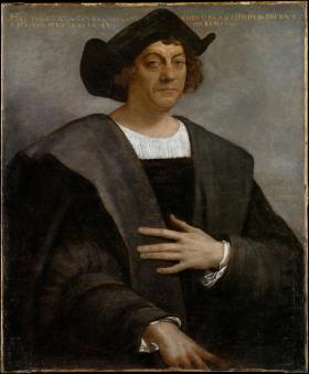 Portrait of man, said to be Christopher Columbus, posthumously painted by Sebastiano del Piombo in 1518. Public Domain, Wikipedia