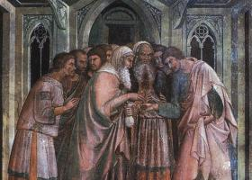 "A painting titled, ""The Pact of Juda,"" circa 1350, shows Judas Iscariot receiving silver coins in his outstretched hand. Painting by Berna da Siena, Public domain"