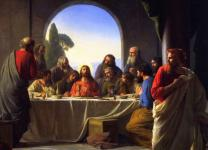 Judas Iscariot (right), retiring from the Last Supper. New Testament scholars argue for a nuanced view of the disciple who betrayed Jesus. Painting by Carl Heinrich Bloch, late 19th century. Public domain