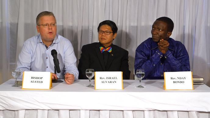 The Connectional Table held a  panel on human sexuality on Feb. 10, 2015 in Maputo, Mozambique. From left are Nordic and Baltic Bishop Christian Alsted, the Rev. Israel Alvaran of the Philippines and the Rev. Nday Bondo, a lecturer at Africa University. Photo by Andrew Jensen, United Methodist Communications.