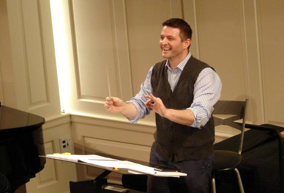 Jonathan Palant, music minister at Kessler United Methodist Church, leads rehearsal for a performance of