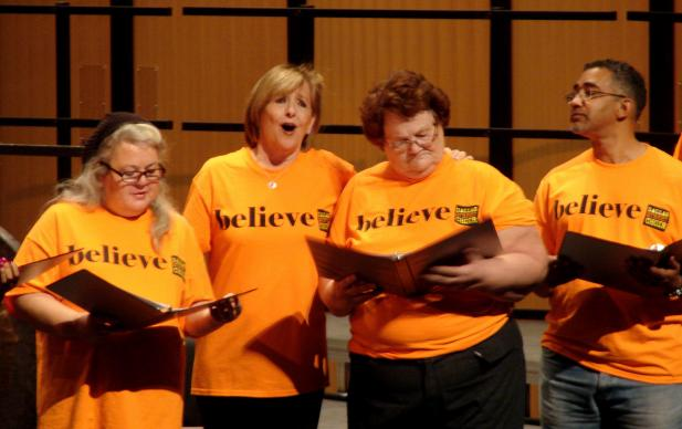 Opera star Frederica von Stade takes a solo while singing with the Dallas Street Choir during a Jan. 25, 2015, benefit concert in Dallas. Photo by Sam Hodges, UMNS