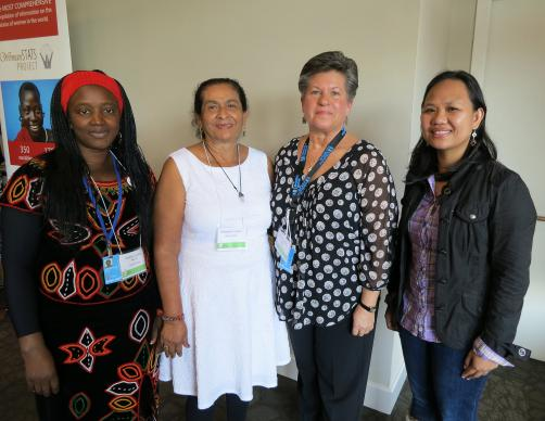 From left, Justine Kwachu Kumche of Cameron, Esperanza Cardona of Honduras, Jennifer Ferariza Meneses of The Philippines and Nichea Ver Veer Guy of the U.S. are part of the 24-member delegation sponsored by United Methodist Women.   Photo by Linda Bloom, UMNS