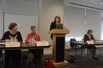 A panel discussion on a recent United Methodist Women-sponsored dialogue between Russian and Ukrainian women included, from left, Kateryna Levchenko, Harriett Jane Olson, Tatiana Dwyer and Natalia Khodyreva. Not pictured is Martha Kebalo. Photo by Beryl Goldberg for United Methodist Women