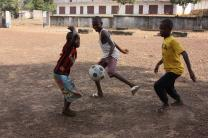 Children play at at orphanage in Kenema, Sierra Leone that was opened during the Ebola epidemic in 2014. There are an estimated 12,000 children orphaned by the virus in West Africa. Photo by Jill Costello, United Methodist Communications.