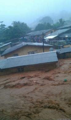 Severe flooding on Sept. 16 damaged homes and property in Freetown, Sierra Leone.  Photo courtesy of Cocorioko, Creative Commons