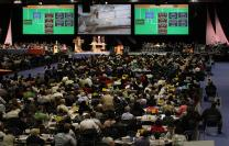Debating church restructuring at the 2012 General Conference. A 2012 file photo by Kathleen Barry, UMNS