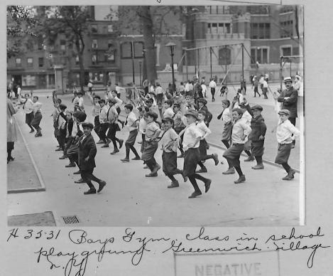 This undated photo of a boys' exercise class in New York City's Greenwich Village may have been a missionary's effort to capture street life of the time.