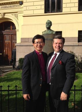 United Methodist Bishop Eduard Khegay, left, with Vladimir Samoilov, Development Expert Council Consultative Council of the Heads of Protestant Churches in Russia, during a visit to the Nobel Institute in Oslo, Norway, in September 2014. Photo courtesy of Bishop Eduard Khegay