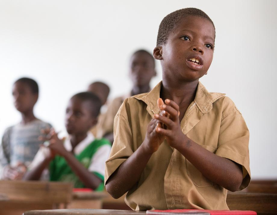 Henry Jöel Koman, 8, recites his lesson at The United Methodist Church's primary school in Kounouko. The village chief praised the church's success in raising the literacy rate.