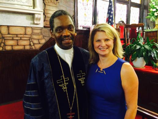 South Carolina State Rep. Jenny Horne (right) worshiped Aug. 23 at Emanuel AME Church in Charleston, S.C., where the sermon was given by the Rev. Elder Goff (left). Horne, a United Methodist, helped persuade the legislature to remove the Confederate flag from state Capitol grounds. Photo courtesy Rep. Horne's office.