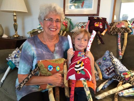 Kingston's Kreatures are designed by 7-year-old Kingston Haynes, with sewing done by his grandmother, Rendy King. Kingston got his idea for providing comfort pillows to needy kids while attending vacation Bible school at Kitty Hawk United Methodist Church. Photo by Molly Harrison.