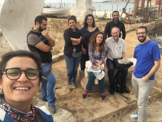 "Dan Bracken, senior producer at Ginghamsburg Church, right, and David Wildman, Global Ministries staff, seated right, with the Lebanese film crew of ""Beyond Bethlehem"" along the Mediterranean shore of Byblos, an ancient seaport north of Beirut. Photo courtesy of Dan Bracken"