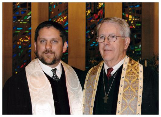 The Rev. Mark Holland and the Rev. Ron Holland, seen here in 2007, are a son-father leadership team at Trinity Community Church, a United Methodist congregation. The arrangement has allowed Mark to work full time as mayor of Kansas City, Kansas. Photo courtesy Ron Holland
