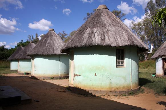 If the main waiting mother's shelter is full, pregnant women can stay in the round houses. Photo by Vicki Brown, UMNS.