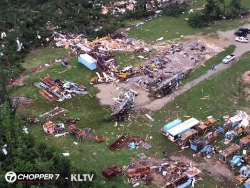 Aerial shot of damage in Van, Texas.  Photo courtesy of KLTV 7