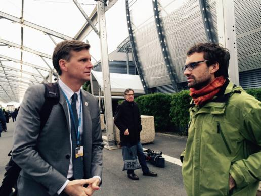 John Hill, a staff member of the United Methodist Board of Church and Society, and Daniel Obergfell, a Church and Society board member from Germany, at the U.N. climate change summit in Paris. Photo by the Rev. Lisa Garvin