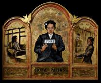 An image of Rosa Parks is part of the 'Icons of the Civil Rights Movement,' exhibit by United Methodist artist Pamela Chatterton-Purdy. Photo courtesy of Board of Church and Society.