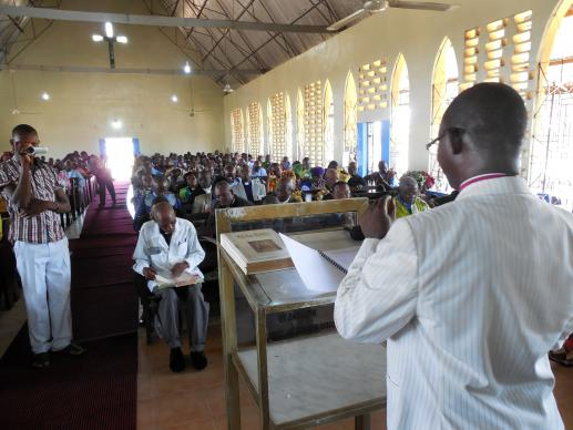 Bishop John K. Yambasu reads his episcopal speech on April 25 to delegates at the Sierra Leone Conference held at Rogers Memorial United Methodist Church in Bo, Sierra Leone.