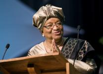 "Liberian President Ellen Johnson Sirleaf, a United Methodist, says efforts to declare Liberia a Christian state would create ""division among the citizens based on religious belief."" Sirleaf is shown addressing the 2008 United Methodist General Conference in Fort Worth, Texas. 2008 file photo by Mike DuBose"