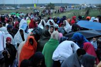 Refugees await crossing from Hungary into Austria. Photo © UNHCR/Mark Henley