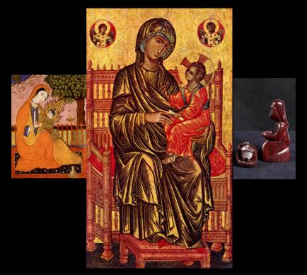 The image of Mary, the mother of Jesus, has resonance around the world. From left, here are Persian, Byzantine and Kenyan depictions of the woman who has lessons for disciples today. Photo illustration by Kathleen Barry, United Methodist Communications