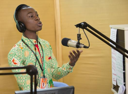 Lionel Sahuie broadcasts from The United Methodist Church's  radio station in  Côte d'Ivoire. Photo by Mike DuBose, United Methodist Communications.
