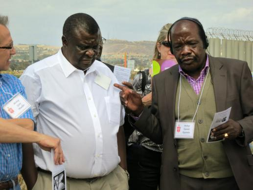 Southern Congo Area Bishop Kainda Katembo speaks during a tour of the U.S. side of the border, accompanied by Bishop Nkulu Ntanda Ntambo of North Katanga. Both Katembo and Ntambo are retiring this year and will be replaced when their respective central conferences hold episcopal elections.