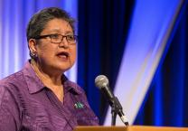 Cynthia Kent, chairperson of the Native American International Caucus, speaks during the Pre-General Conference News Briefing in Portland, Ore., in January. Photo by Mike DuBose, UMNS.
