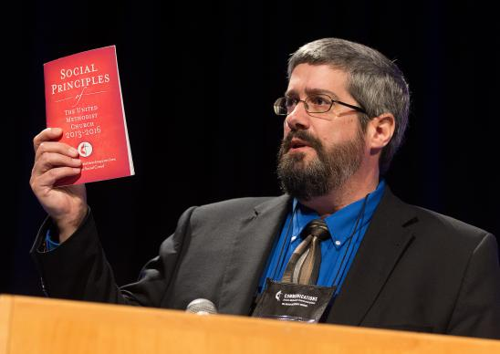 The Rev. Dan Dick takes part in a panel discussion about the United Methodist Social Principals  at the pre-General Conference briefing in Portland, Ore. Dick is a member of the United Methodist Board of Church and Society. Photo by Mike DuBose, UMNS
