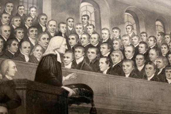 A close-up from a depiction of John Wesley preaching at City Road Chapel in London hangs inside The Old Rectory in Epworth. Photo by Kathleen Barry, United Methodist Communications
