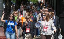 Methodists in support of immigration reform march down Martin Luther King Jr. Boulevard outside the 2016 United Methodist General Conference in Portland, Ore.