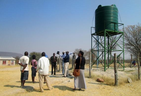 The 7,500-liter tank supplying safe drinking water to Nyamacheni Mission has brought relief to the staff and pupils who were previously sharing dam water with livestock. Photo courtesy Eveline Chikwanah
