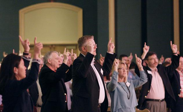 Church leaders sing during worship at the United Methodist Council of Bishops' Extended Cabinet Summit in Jacksonville, Fla. More than 750 leaders gathered to focus on the mission of cultivating vital congregations. Photo by Kathy L. Gilbert, UMNS.