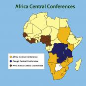 Map shows the borders of three central conferences in sub-Saharan Africa. The Africa Central Conference, in gold, proposes splitting itself into four. Map by Cindy Caldwell, United Methodist Communications