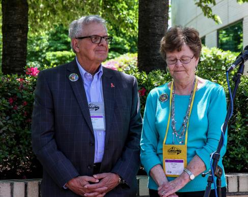 Bishop Albert Mutti and his wife, Etta Mae Mutti, observe a moment of silence during an AIDS Vigil held May 11 at the United Methodist 2016 General Conference in Portland, Ore. The Vigil was sponsored by the UMC Global AIDS Fund Committee. Photo by Maile Bradfield, UMNS.