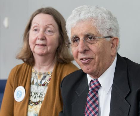 The Rev. Alex Awad and his wife Brenda talk about the years they spent at Bethlehem Bible  College. They have retired as United Methodist missionaries. Photo by Mike DuBose, UMNS