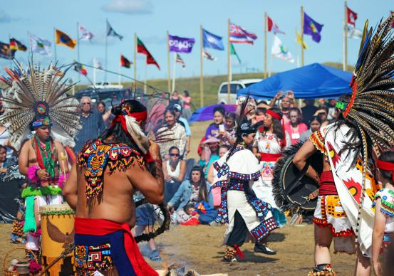 Aztec dancers at Oceti Sakowin Camp, near Cannon Ball, ND.