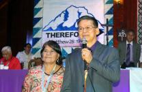Bishop Ciriaco Q. Francisco, accompanied by his wife, Restetita Victoria, spoke Dec. 2 to delegates at the Philippines Central Conference after his re-election as a bishop in The United Methodist Church. Photo by Gladys Mangiduyos, UMNS