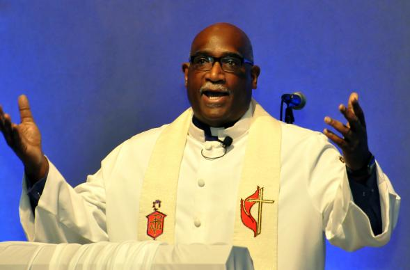Bishop Gregory V. Palmer, West Ohio Conference, speaks at opening worship at the 2017 meeting of the Black Methodists for Church Renewal. More than 400 members of The United Methodist Church's African-American membership caucus celebrated the 50th anniversary of its first meeting. Photo by John Coleman, UMNS.