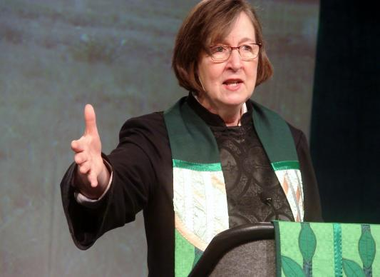 Mountain Sky Area Bishop Elaine J.W. Stanovsky has helped lead efforts toward a full acknowledgement of Methodist involvement in the 1864 Sand Creek Massacre. A UMNS photo by Sam Hodges.