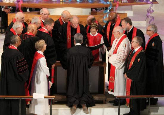 Bishop Ruben Saenz Jr. is consecrated July 16, 2016, as a new bishop in the South Central Jurisdiction during a ceremony at Wichita First United Methodist Church. Photo by Todd Seifert, Great Plains Conference.