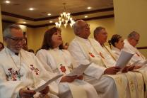 The Hispanic-Latino bishops of The United Methodist Church celebrated opening worship at the MARCHA Assembly in San Juan, Puerto Rico, on Aug. 4, 2016. Shown, from left: Bishop Elias Galvan, Bishop Minerva Carcaño, Bishop Rafael Moreno Rivas, Bishop Juan Vera Mendez, Bishop Cynthia Fierro Harvey and Bishop Hector Ortiz. Photo by the Rev. Gustavo Vasquez, UMCom.