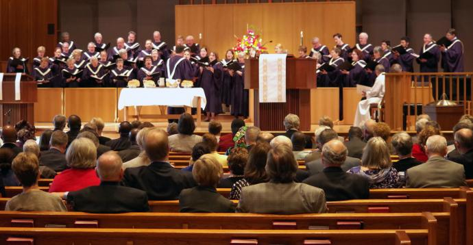 The choir sings an anthem during the Council of Bishop memorial service held at First United Methodist Church in Portland, Ore.