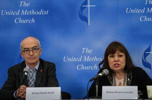 Bishops Patrick Streiff and Minerva Carcaño discuss Christian conferencing and  the worldwide nature of the church at a May 11 press conference held during the United Methodist 2016 General Conference in Portland, Ore. Photo by Maile Bradfield, UMNS.