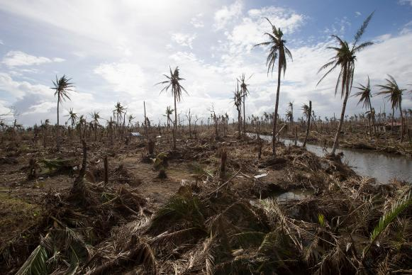 Typhoon Haiyan, a natural disaster made worse by climate change, laid waste to vast areas near Tanauan, Philippines in 2013. File photo by Mike DuBose, UMNS