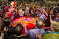 Protesters against the United Methodist Church's stance on sexuality prepare to serve Holy Communion inside the bar of the 2012 United Methodist General Conference in Tampa, Fla.