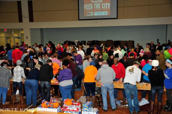 A day after the Dec. 26 tornadoes clobbered parts of the Dallas area, some 300 volunteers came to University Park United Methodist Church and made 13,000 sandwiches for first responders. Photo by Kirte Kinser