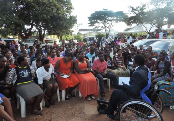 Tawanda Mupingo speaks to a congregation at Kuwadzana United Methodist Church in Harare, Zimbabwe. Mupingo is working to help people change their view of disability and to accept that disabled people have value. Photo by Taurai Emmanuel Maforo, UMNS