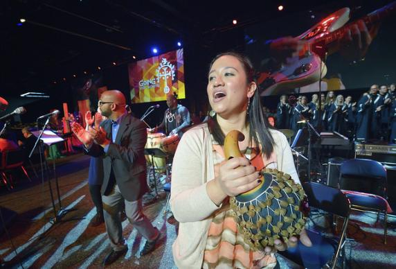 Musicians lead singing on May 12 during morning worship at the United Methodist General Conference in Portland, Ore. Photo by Paul Jeffrey, UMNS.